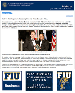 AWARD HONOUR FIU OUTSTANDING ANDREW MANTON